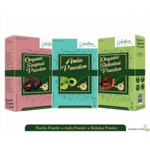 Gulmohar Premium Amla Reetha Shikakai for Stong and Healthy Hair - 300g