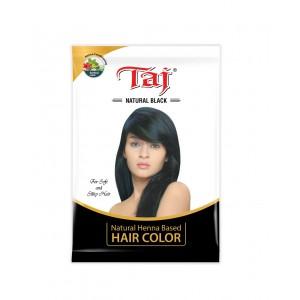 Taj Natural Black, Henna Based Hair color 15g each (Pack of 10)
