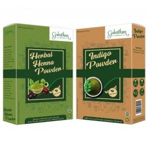 Gulmohar Premium Henna and Indigo Combo Pack for natural Black Color - 200G